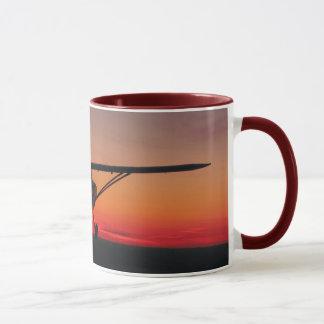Voler dans la tasse de coucher du soleil