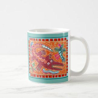 Volkskunst-Alligator Kaffeetasse