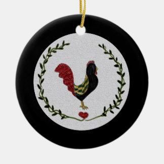 Volkskunst-Hahn-und Herz-Girlanden-Verzierung Rundes Keramik Ornament