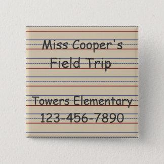 Volksschule-Papier personalisiert Quadratischer Button 5,1 Cm