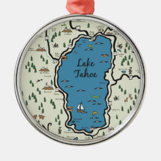 Volle Lake- Tahoebereichs-Karte Rundes Silberfarbenes Ornament