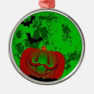 Voller Halloween-Mond Rundes Silberfarbenes Ornament