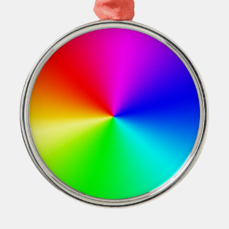 Voller Spektrum-Regenbogen Rundes Silberfarbenes Ornament