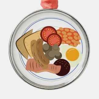 Volles englisches Frühstück Rundes Silberfarbenes Ornament