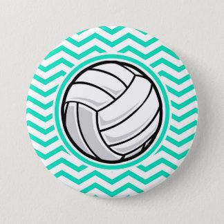 Volleyball; Aqua-grünes Zickzack Runder Button 7,6 Cm