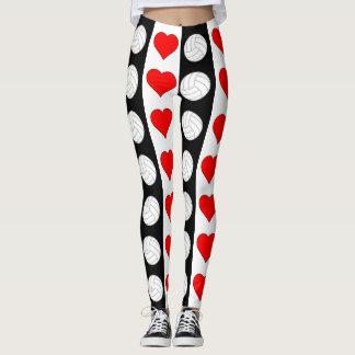 Volleyball-Herz-Schwarz-weiße u. rote Leggings