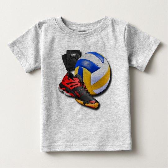 Volleyball-Schuh-Ball-Knieschützer mit Ihrem Namen Baby T-shirt