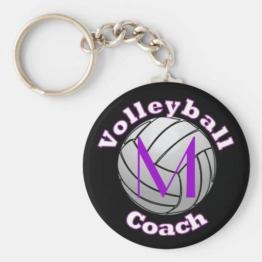 Volleyball-Trainer mit lila Initiale Schlüsselanhänger