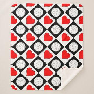 Volleyball u. Herz-niedliches Checkered Muster Sherpadecke