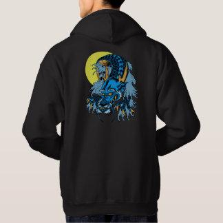 Vollmond-blauer asiatischer Kunst-Drache Hoodie