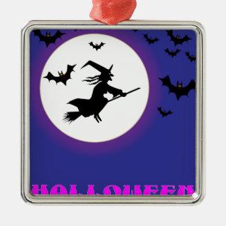 Vollmond-Hexe Quadratisches Silberfarbenes Ornament