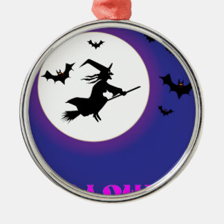 Vollmond-Hexe Rundes Silberfarbenes Ornament