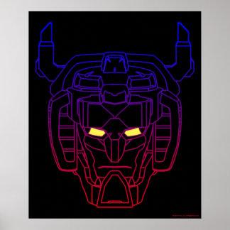 Voltron | Blau-Rote Steigungs-Kopf-Kontur Poster