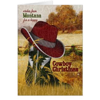 vom Montana-Cowboy-WeihnachtsWestern-Stiefel Grußkarte