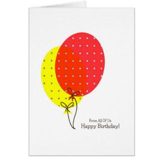 Von allen uns Geburtstagskarten-bunte Ballone Karte