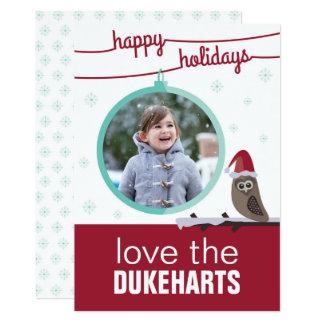 Von der Eulen-Familie zu Ihrem. Feiertags-Karte 12,7 X 17,8 Cm Einladungskarte