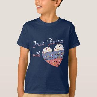 Von Russland mit Liebe Text und russischem Herzen T-Shirt