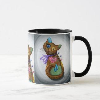 Voodoo-Katzen-Puppen-Patchwork-Katzen-gotische Tasse