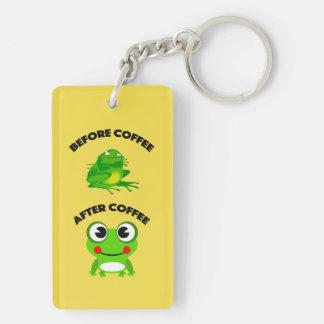 Vor Kaffee nach Kaffeefroschentwurf Keychain Schlüsselanhänger