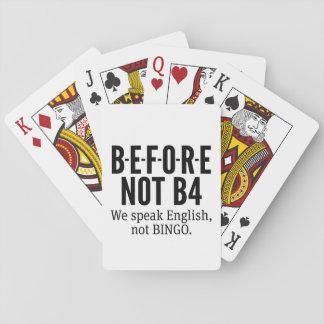 VOR NICHT B4 - sprechen Sie Englisch-nicht Bingo Spielkarten