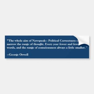 Vor Orwell sah politische Korrektheit 50 Jahren! Auto Aufkleber