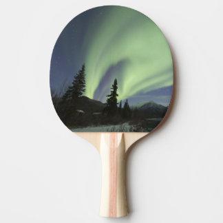 Vorhänge grüner Aurora borealis im Himmel 2 Tischtennis Schläger