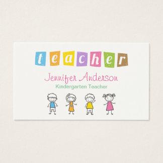 Vorschullehrer-niedliche Bleistift-Illustrationen Visitenkarte