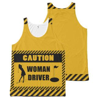 Vorsicht-Frauen-Fahrer-Golf-Spaß Komplett Bedrucktes Tanktop