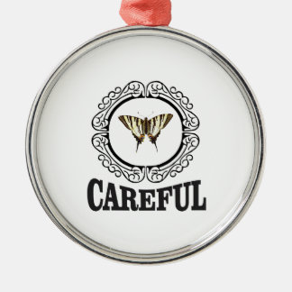 vorsichtiger Kreis Silbernes Ornament