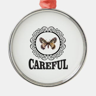 vorsichtiger Schmetterling Silbernes Ornament