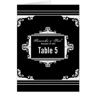 Vorzügliche Schwarzweiss-Tischnummer-Karten Karte