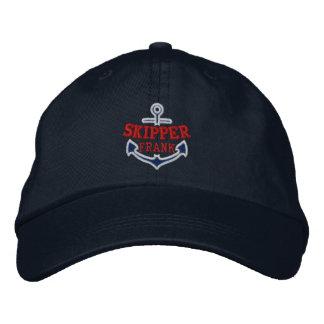 Votre nom sur le capitaine nautique de broderie chapeau brodé