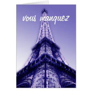 Vous Manquez Eiffel Turm-Fräulein You Card Purple Karte