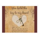 Vous tenez la clé sur mon coeur cartes postales
