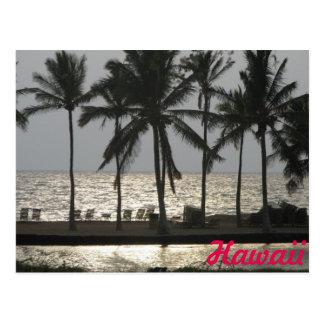 Voyage de coucher du soleil d'Hawaï Carte Postale