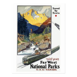 Voyage de parcs nationaux par chemin de fer carte postale