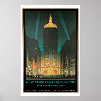 Voyage vintage, bâtiment central de New York Poster