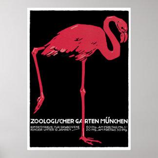 Voyage vintage de l'Allemagne de zoo de Munich Poster