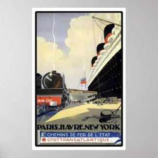 """Voyage vintage de """"Paris, le Havre, New York"""" Affiches"""