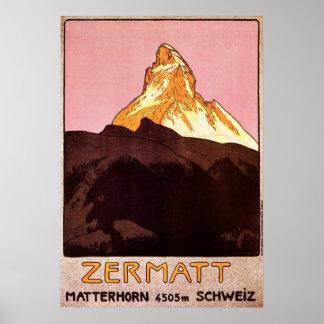 Voyage vintage, montagne de Matterhorn, Suisse Poster