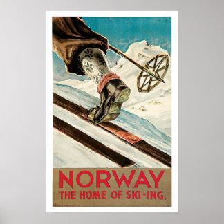 Voyage vintage, ski de la Norvège Poster