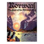 Voyage vintage, terre de fjord de la Norvège de Cartes Postales