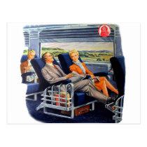 Voyageurs de luxe de car de rétro train vintage de cartes postales