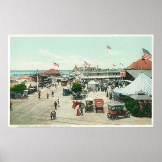 Vue aérienne de ville de tente et de plaza d'amuse poster