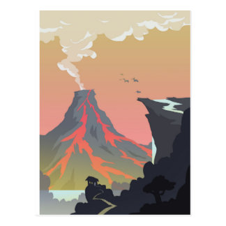Vulkan-Wasserfall-Postkarte Postkarte