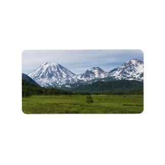 Vulkanische Landschaft des landschaftlichen Adressetiketten