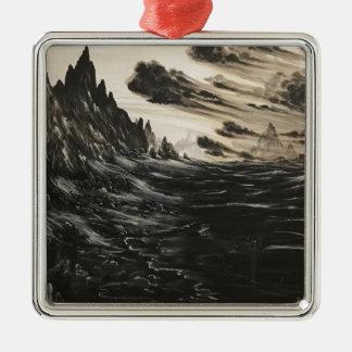 Vulkanisches Ufer Silbernes Ornament