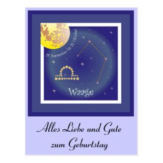 Waage 24. September bis 23. Oktober Postkarte