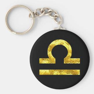Waage-Tierkreis-Zeichen-Schwarz-Goldsymbol Schlüsselanhänger