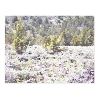 Wacholderbüsche und Lava-Felsen im Aquarell Postkarte